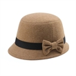 Infinity Selections Wool Cloche Hat w/ Bow Tie Decoration - Infinity selections wool plaid cloche hat with bow tie decoration.