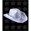 BLANK LED Sequin Cowboy Hat - Silver - BLANK LED Sequin Cowboy Hat - Silver
