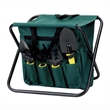 GARDENING STOOL & UTILITY TOTE - Foldable gardening stool with exterior pockets with 7 tools.