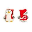"6"" PomPom Mini Penguin with vest and santa hat one color imp"