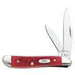 Dark Red Bone CV Peanut - Slimline peanut knife, clip and pen blades.