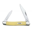 Smooth Yellow Synthetic Pen Knife - Smooth yellow synthetic pen knife with stainless steel blades.