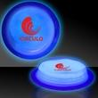 "Blue 3"" Self-Adhering Circle Shaped Glow Light Up Badge - 3"" circle shaped self-adhering blue glow badge."
