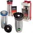 Click 'N Sip Gleam Tumbler & Ghirardelli (R) Cocoa Gift Set - Stainless steel tumbler and hot cocoa gift set.