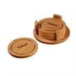 Round Bamboo Coaster Set - Set of bamboo and silicone coasters.