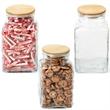 Office Reception Glass Jar Wood Lid with Salt Water Taffy - Glass jar with wood lid filled with salt water taffy