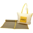Beach Bag With Mat - Striped beach bag that comes with a mat and is available in two product colors