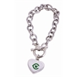 """Toggle Heart Bracelet - 8"""" long silver-plated bracelet with a heart charm and Egyptian-style toggle clasp."""