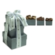 3 Stack Silver Gift Tower - Milk Chocolate Selection - 3 piece silver tower filled with gourmet milk chocolate treats.