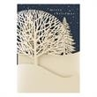 Laser Cut Treescape Holiday Card - On this Holiday Card, A detailed treescape is laser cut into a golden shimmer wrap.