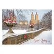 New York's Bow Bridge Holiday Card - On this Card, New York's Bow Bridge is beautiful decorated for the holidays with wreaths and fresh snow.