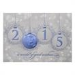 A World Awaits Greetings Card - On this Card, Blue ornaments spell out 2015 and send a world of good wishes to your friends and associates for the new year.