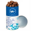 Chocolate Covered Almonds in Small Snack Tube - Small snack tube filled with 10 oz. of chocolate covered almonds; includes 4-color process body wrap.