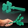 "7 1/2"" Shamrock Hand Clapper - 7.5"" green shamrock-shaped hand clapper"