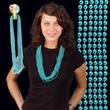 "Teal Metallic Beaded Necklace - Teal metallic round beaded mardi gras beads necklace, 33"" (7mm), blank."