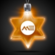 Star of David Amber Light-Up LED Acrylic Pendant Necklace