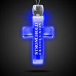 Cross Blue Light-Up Acrylic Pendant Necklace