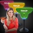 Neon LED Margarita Glasses  - Brighten your promotion with our Neon LED Margarita glasses with neon tops, black stems and bright blue LEDs .