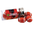 """Chocolate Footballs in a 3 """" Plastic Tube with Metal Cap"""
