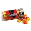 """Candy Corn in a 3 """" Plastic Tube with Metal Cap"""