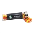 """Candy Corn in a 5 """" Plastic Tube with Metal Cap"""
