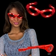 Red Plastic Sunglasses with Built-In Flashing LED Lights - Red plastic sunglasses with built-in flashing LED lights.