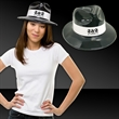 Black Plastic Fedora with White Band - Black plastic fedora hat with a white imprintable band .