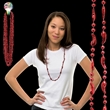 """33"""" Metallic Red Chili Pepper Beaded Necklace - 33"""" Metallic red chili pepper beaded mardi gras beads necklace, blank."""
