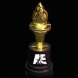 "Torch Award Statue - 5"" tall gold plastic torch award statue."