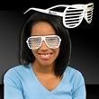 White Slotted Eyeglasses - White plastic eyeglasses with slotted lenses.