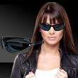 Black Wrap Sunglasses - Plastic black wrap-style sunglasses.