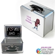Chalkboard Vinyl Lunch Box Tin Original Retro Look - Silver lunch box with a chalkboard inside and collapsible handle
