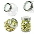 Desktop Glass Jar Small See Thru Lid with Salt Water Taffy - Small desktop glass jar with see-thru lid filled with salt water taffy.