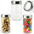 Modern Round Glass Jar with See Thru Lid w/ Salt Water Taffy - Round glass jar with see through lid filled with salt water taffy