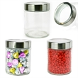 Modern Round Glass Jar Small filled with Salt Water Taffy - Round glass jar with stainless steel lid filled with salt water taffy