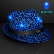 LED Blue Fedora Animal Print Party Hats - 1