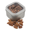 Large Tin with Window Lid and Almonds - Large Metal Tin with Window Lid and Almonds