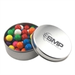 Large Round Metal Tin with Lid and Gumballs - Large Round Metal Tin with Lid and Gumballs