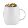 14 oz White Ceramic Rotunda Mug w/C-handle & Jelly Beans - White 12 oz ceramic mug with 10.5 oz of gourmet jelly beans.
