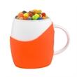 14 oz White Ceramic Rotunda Mug w/silicone  & Jelly Beans - 12 oz ceramic mug with 10.5 oz of gourmet jelly beans.