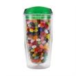 18 oz Plastic Ringo Tumbler w/ Gourmet Jelly Beans - 18 oz. double wall tumbler with Gourmet Jelly Beans.