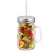 20 oz Glass Vintage Jackie Mason Jar w/straw & Jelly Beans - Mason jar filled with Jelly Bellys.