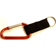 Carabiner with split key ring and nylon strap