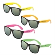 Classic Neon Sunglasses with Mirrored Lens - Classic neon sunglasses made of plastic with mirrored lenses; sized for adults.