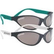 Plastic Sunglasses - Flexible sunglasses with black front frames and neon temples.