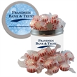 Half-Quart Tin Containers with Starlite Mints - Breath Mints - Half-quart silver tin can containers with starlite breath mints and fresheners. These Christmas tins are great food gifts.