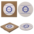Round Absorbent Stone Coaster - Round absorbent stone coaster with cork backing and pad printed graphics.