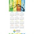 Z-Fold Four Seasons Illustrated Calendar - Tri-fold year on a page calendar with full color seasons picture at top.