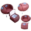Football shaped chair and ottoman