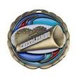 "2 1/2"" Cheerleader Color Epoxy Medallion - Medallion with color epoxy cheerleader stock design, 2 1/2"""